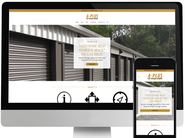 Website Design for A-Plus Self Storage Complex
